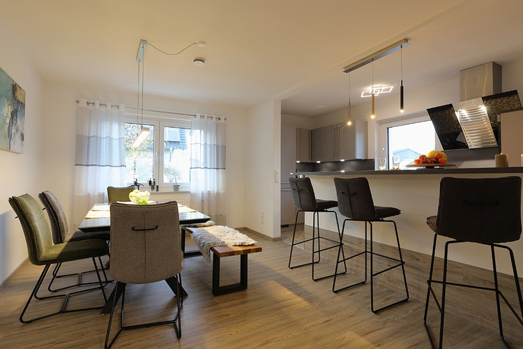Ferienhaus Däschinger Zweiradparadies eat-in kitchen for the whole family - child-friendly -