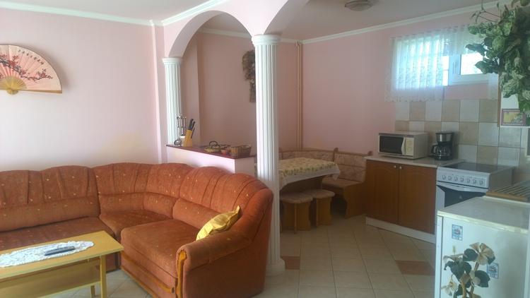 Blick in die Wohnküche. Apartment 1