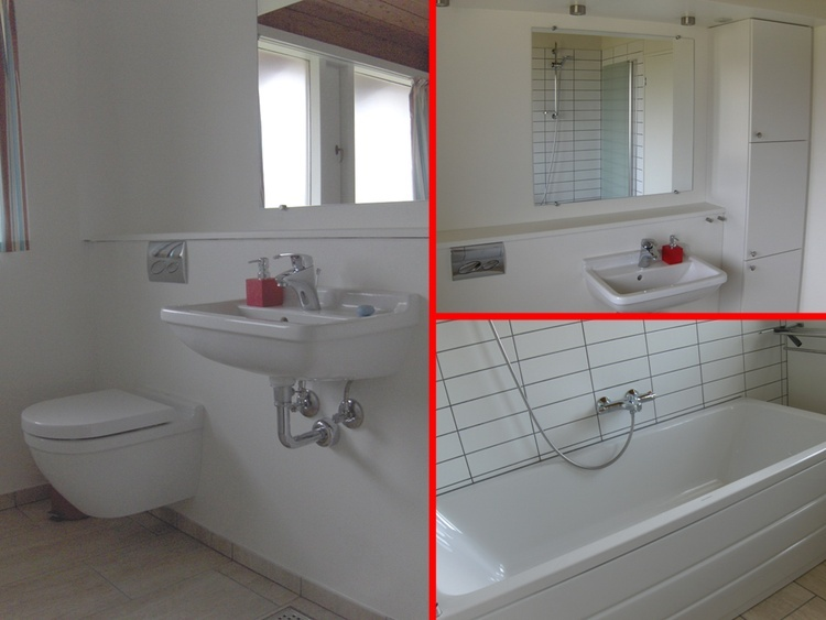 Bright and spacious bathroom. With bathtub in which the shower is located. Underfloor heating