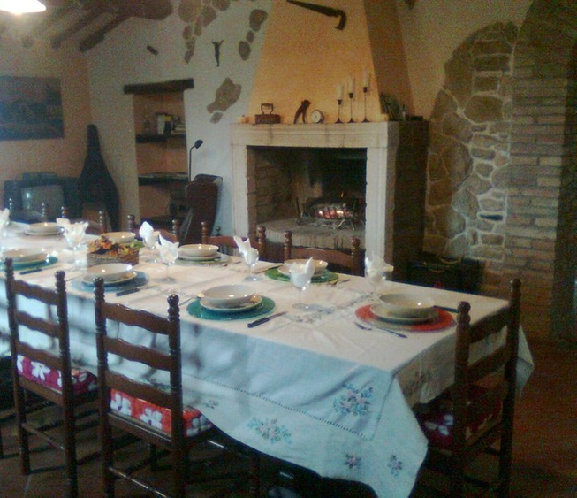 The large dining room with fireplace