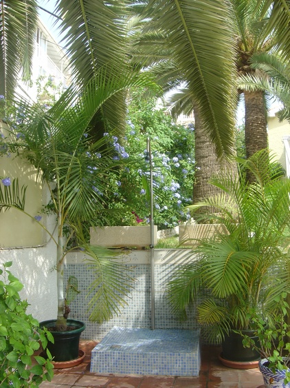 large outside shower under palms