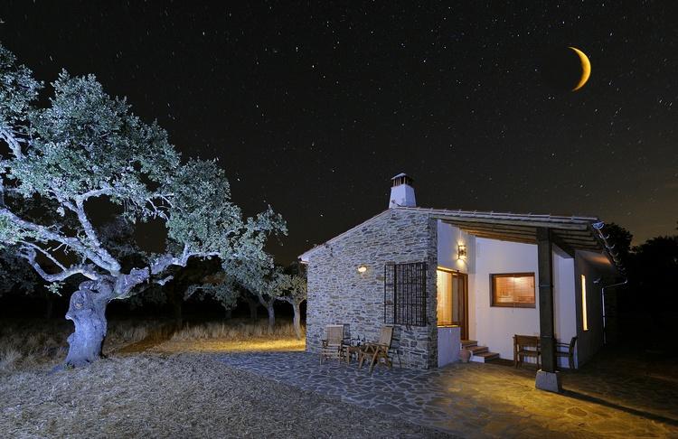 Cottage at night