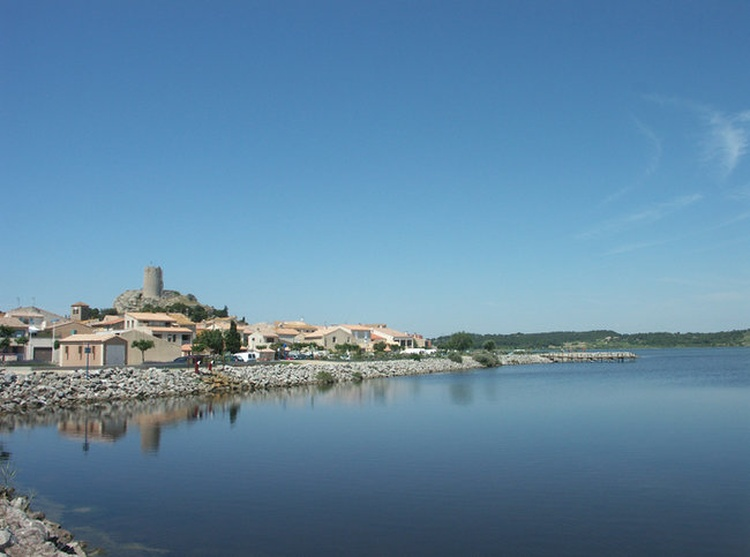 Gruissan old town across the lagoon