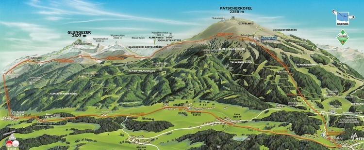 Wanderwege am Patscherkofel oberhalb von Igls