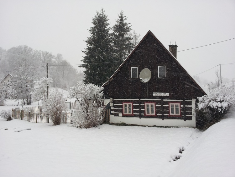 Winter, idyllisches Haus