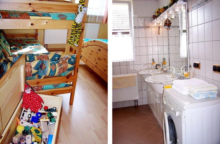 Bunk bed + toy box // Washing machine, shower and bath