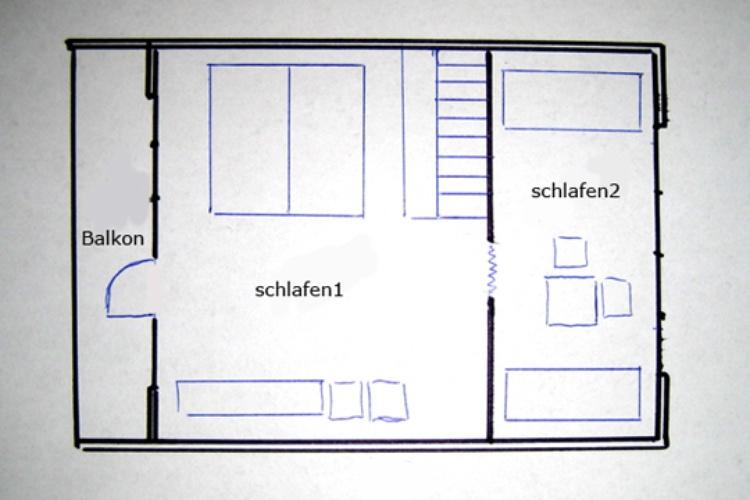 Grundriss Ferienhaus Obergeschoss über Raumspartreppe erreichbar
