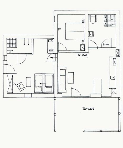 """Grundriss FEWO """"Tenne"""" (rechts im Bild) und Appartement """"Werkstatt"""" (links)."""