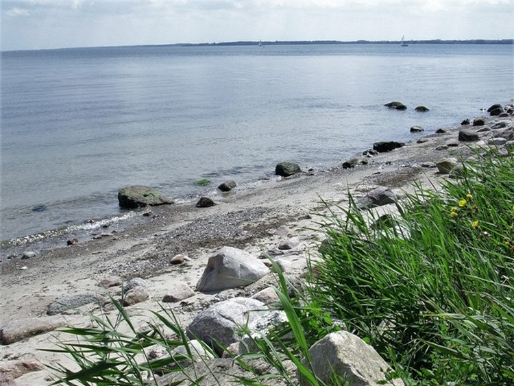 Strand mit versteinerten Seeigeln und Lochsteinen