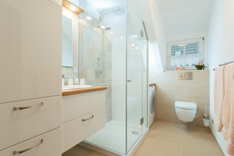 Bathroom with sink, large shower, washing machine and toilet