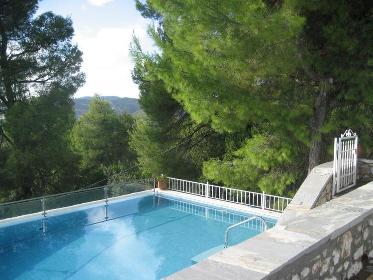 Privat Pool mit Bäumen Umgeben und Meerblick
