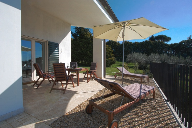 Terrace of holiday apartment Olivi