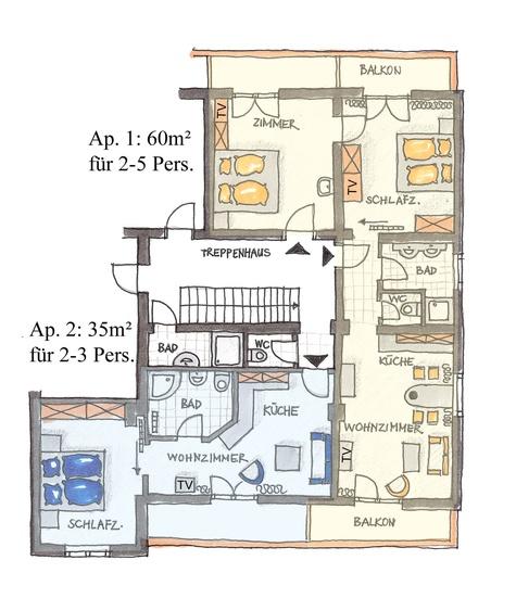 Übersichtsplan Apartmenthaus, 1.Stock