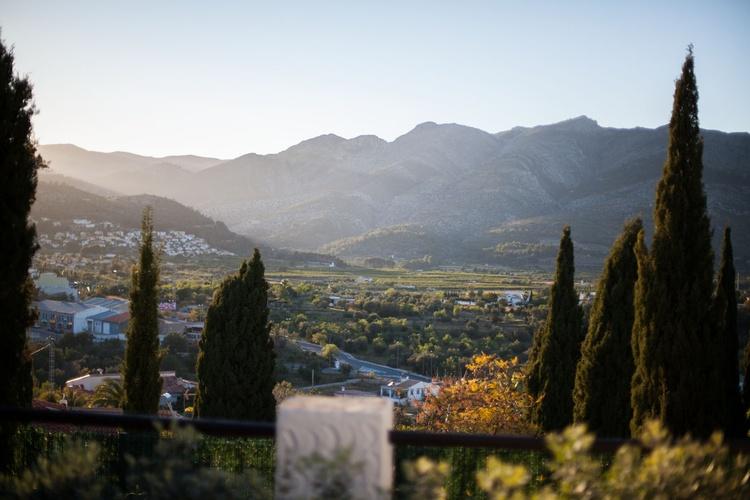 Blick von der Terrasse auf das Bergpanorama