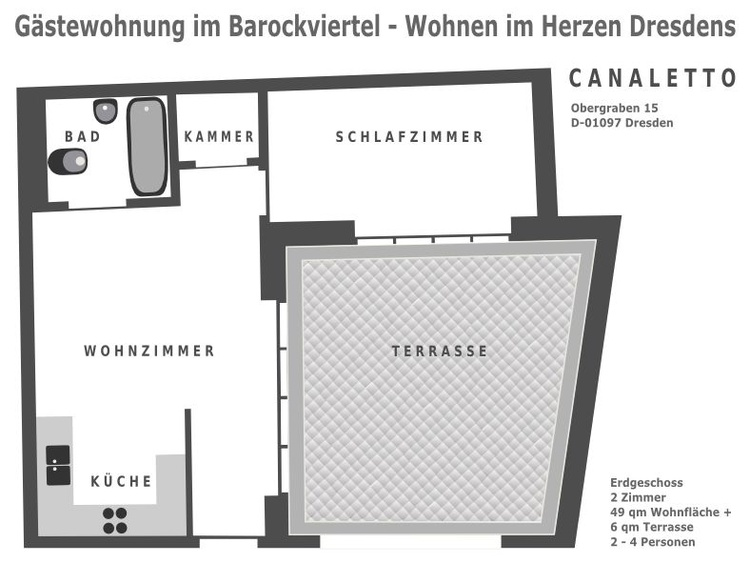 Ground plan of this vacation rental in Dresden town centre