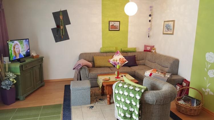 Wohnzimmer Erker, Terrasse, Garten