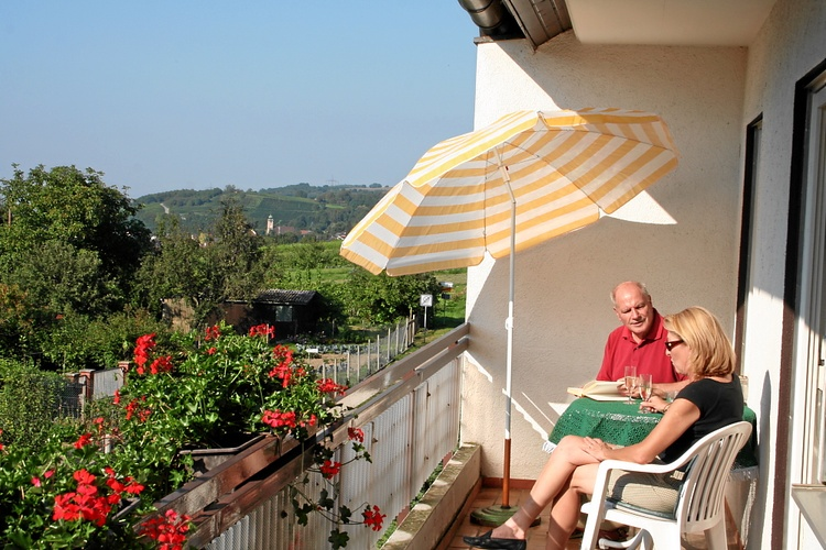 Sunny balcony with view over to thr Rhine River