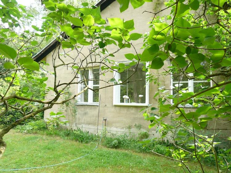 """die Westseite des """"Berlin-Cottage"""" von unterm Fliederbusch gesehen"""