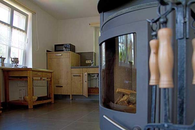 Einblick: Küche mit Kaminofen zum Wohnraum