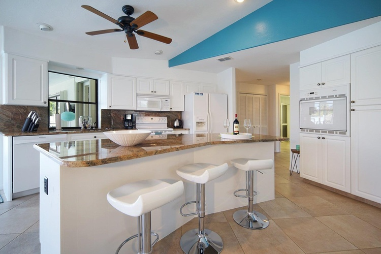 open kitchen of the villa in Cape Coral, Florida