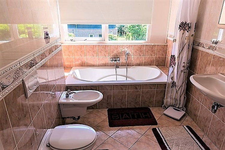 Main bathroom with bathtub and bidet