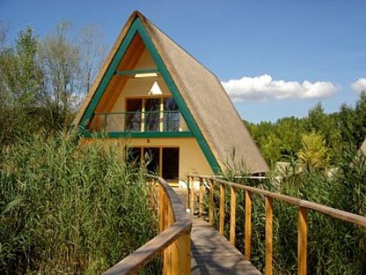 Terrasse mit Steg zum Teich