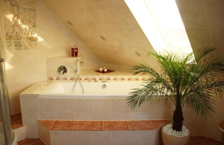 Badezimmer mit Whirpool, Dusche u. WC