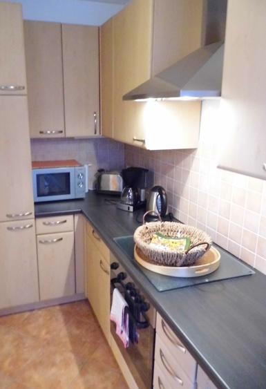 Die Einbauküche mit Geschirrspüler und Mikrowelle