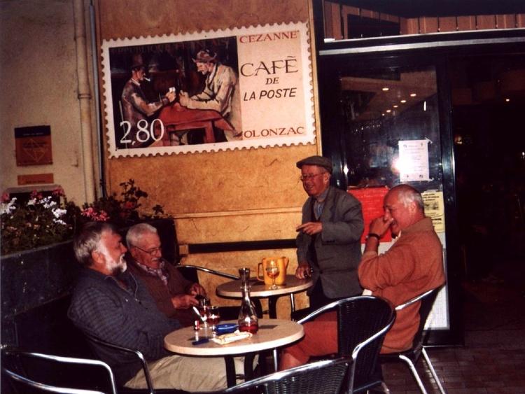 in the evening at the Café de la Poste at Olonzac