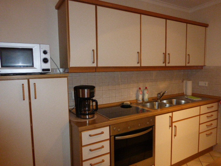Kitchenette (MW, refrigerator + GF, electric stove, oven, coffee machine, kettle - no dishwasher)