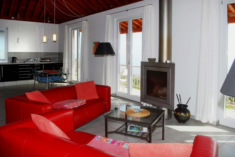 fireplace and sofas
