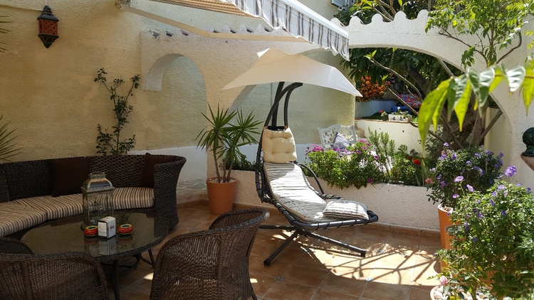 well equipped terrace with awning and large fridge for cool drinks, great sea views....