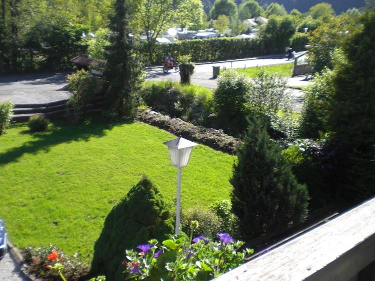 Blick auf den Garten im Sommer