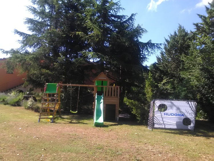 The second playground with tower, slide and swing