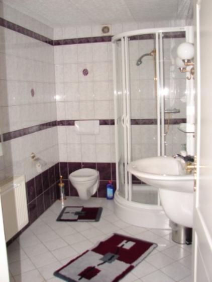 Wohnung 1, Bad mit mit Duschkabine,  Handtuchtrockner,  WC- & WT-Anlage, Accessoires, Waschmaschine